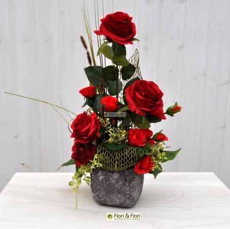 Composizione fiori artificiali Rosa Baccarà