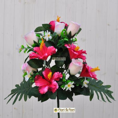 Bouquet fiori artificiali Hibiscus rosa