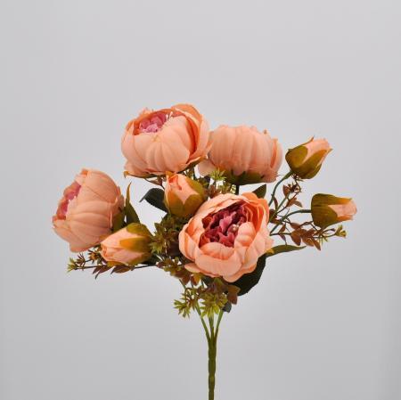 Bouquet fiori artificiali Peonia Queen salmone