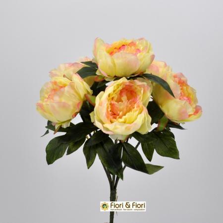 Bouquet fiori artificiali Peonia crema