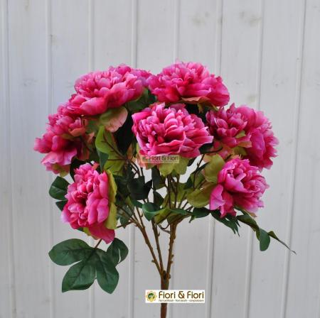 Bouquet fiori artificiali peonia tudor fucsia
