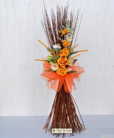 Decorazione fiori artificiali Rosita arancio