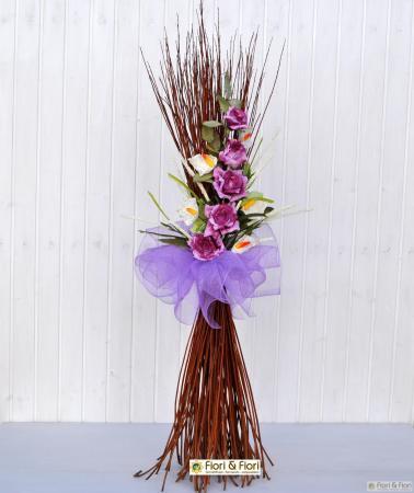 Decorazione fiori artificiali Rosita fucsia